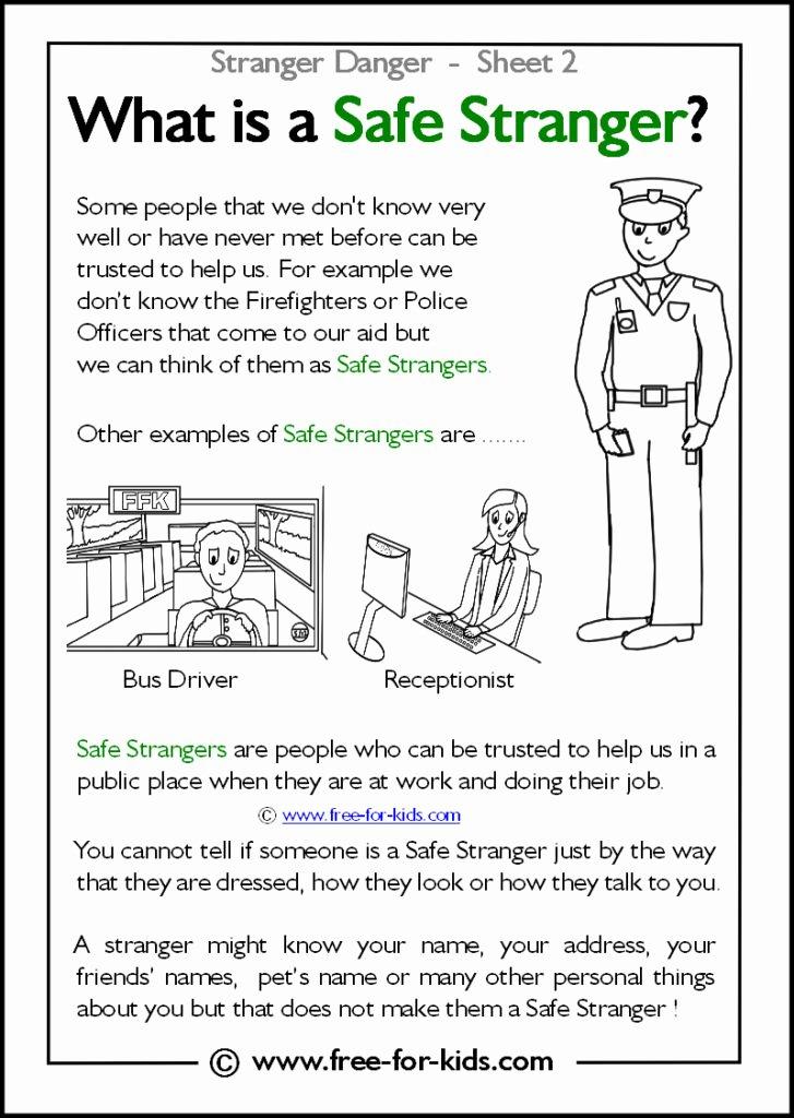 Safety Worksheets for Preschoolers Fresh Printable Stranger Danger Worksheets Page 1 Of 2