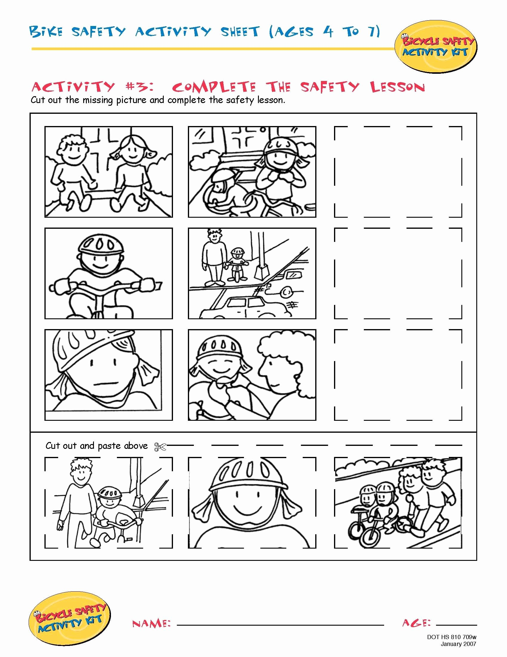 Safety Worksheets for Preschoolers Inspirational Bike Safety Activity Sheet Ages 4 to 11 Plete the