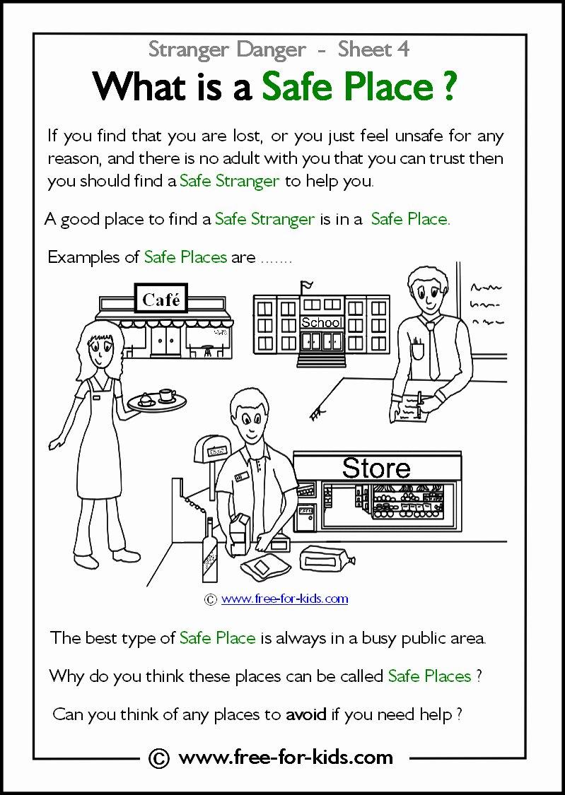 Safety Worksheets for Preschoolers Inspirational Stranger Danger Worksheets and Colouring Safety at Work is