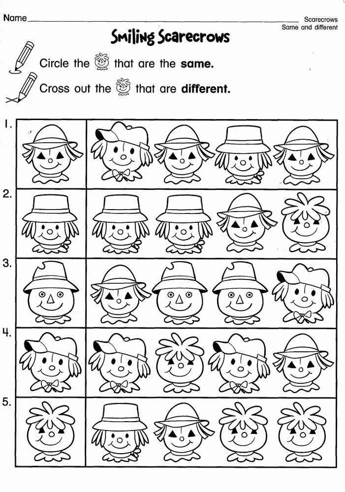 Scarecrow Worksheets for Preschoolers Beautiful Same Different Activities