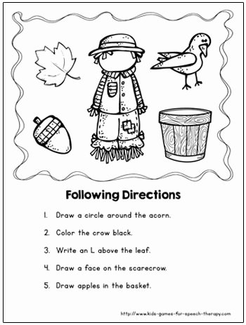Scarecrow Worksheets for Preschoolers Best Of Fall Speech therapy Activities & Language Worksheets with