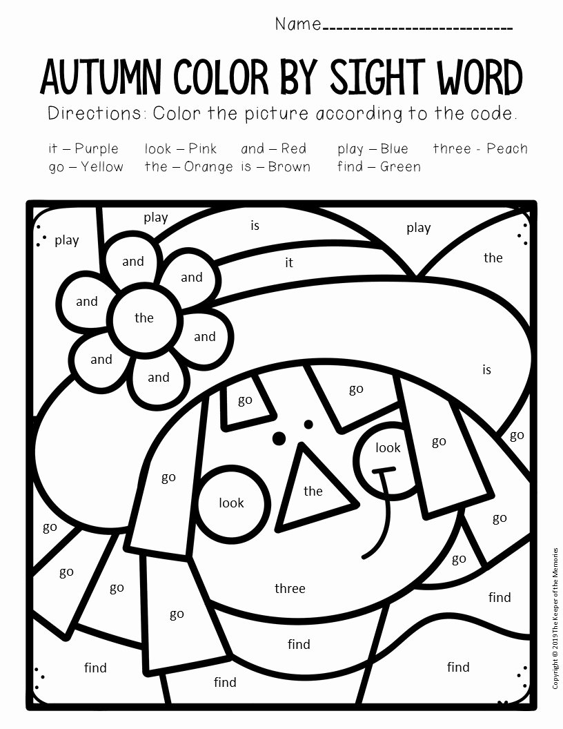 Scarecrow Worksheets for Preschoolers Fresh Color by Sight Word Fall Preschool Worksheets Scarecrow