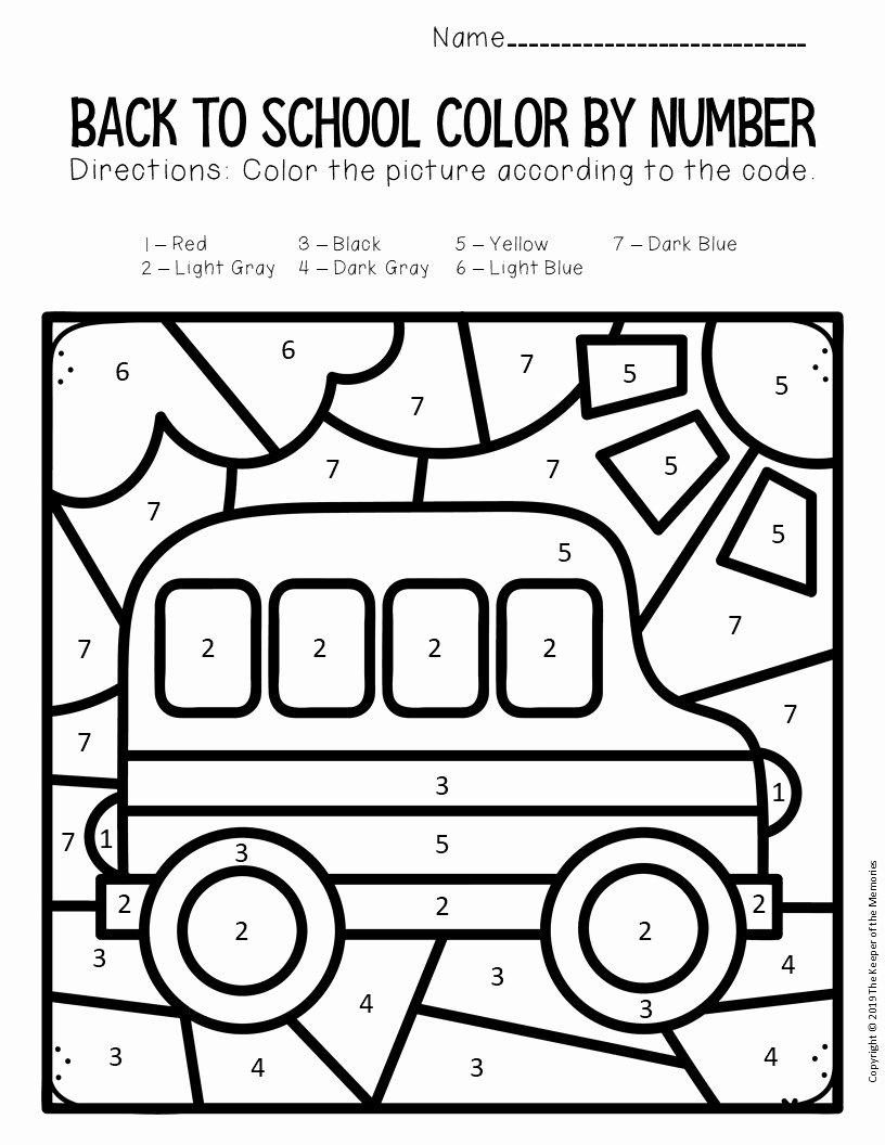 School Bus Worksheets for Preschoolers Beautiful Color by Number Back to School Kindergarten Worksheets