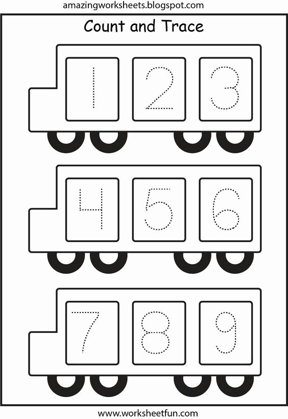 School Bus Worksheets for Preschoolers top School Bus Number Trace Page