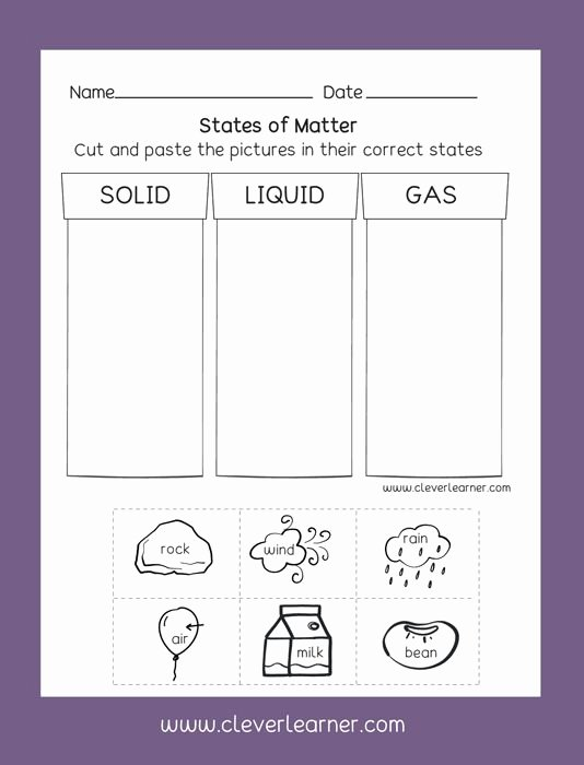 Science Worksheets for Preschoolers Fresh States Of Matter solid Liquid Gas Free Preschool Activity