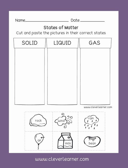 Science Worksheets for Preschoolers Fresh States Of Matter solid Liquid Gas Free Preschool Activity