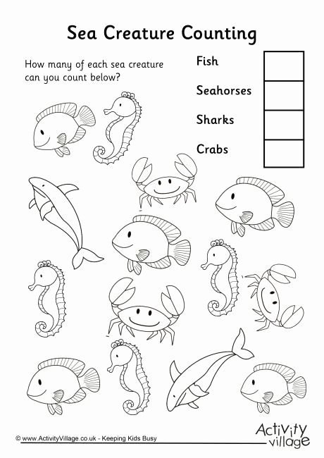 Sea Animals Worksheets for Preschoolers Lovely Sea Creature Counting 3