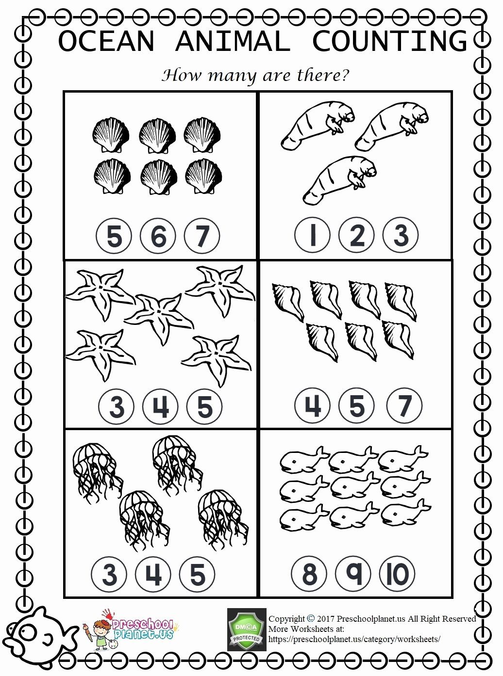 Sea Animals Worksheets for Preschoolers top Sea Animal Counting Worksheet – Preschoolplanet