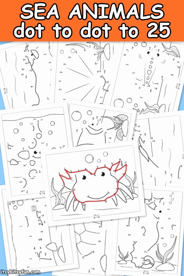 Sea Creatures Worksheets for Preschoolers Awesome Ocean Animals Dot to Dot Worksheets Itsybitsyfun