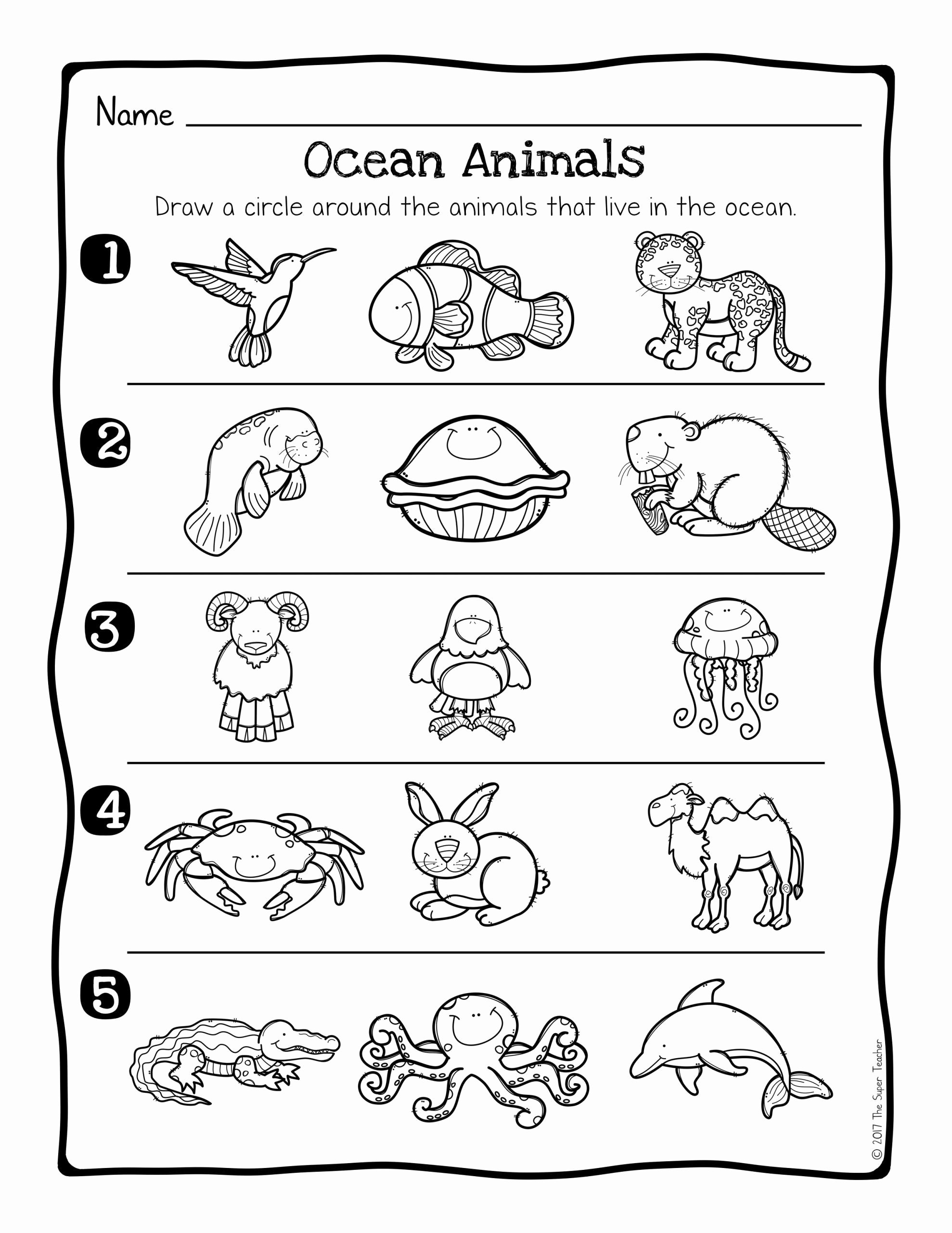 Sea Creatures Worksheets for Preschoolers top Ocean Handwriting Worksheets