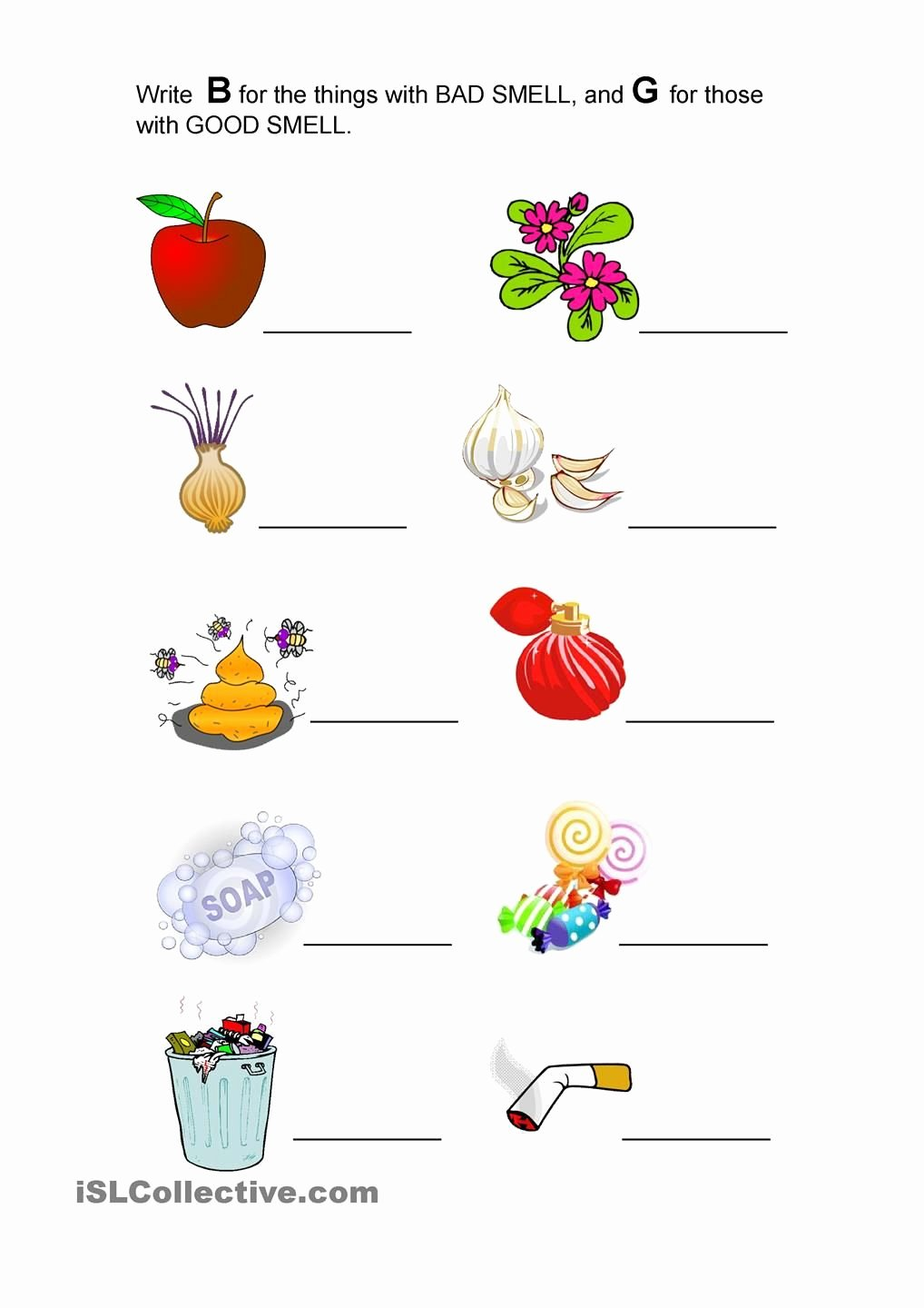 Sense Of Smell Worksheets for Preschoolers top Good Smell and Bad Smell