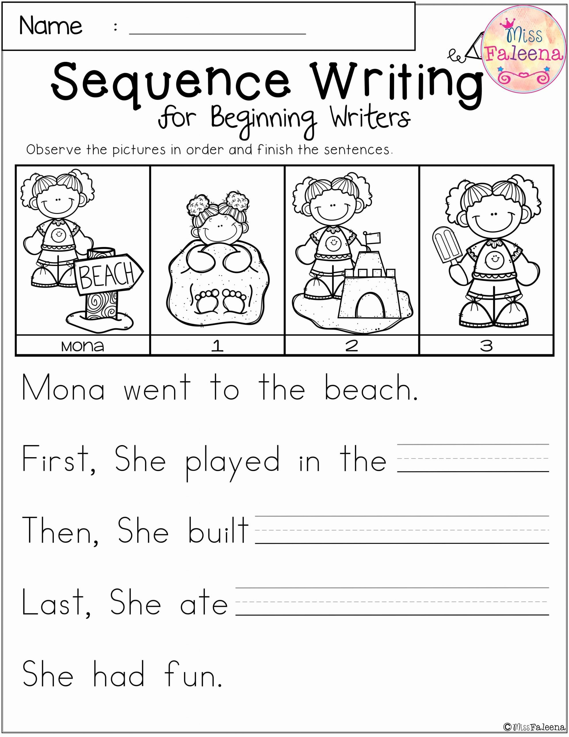 Sequencing Worksheets for Preschoolers Inspirational Free Sequence Writing for Beginning Writers