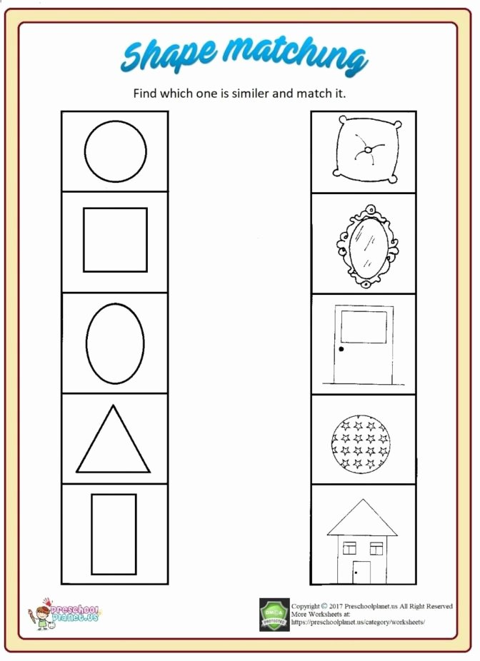 Shape Matching Worksheets for Preschoolers Beautiful Math Worksheet Shapeng Worksheet Preschool Worksheets for