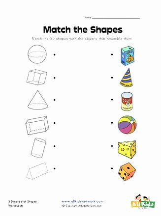 Shape Matching Worksheets for Preschoolers Inspirational 3d Shape Matching Worksheet