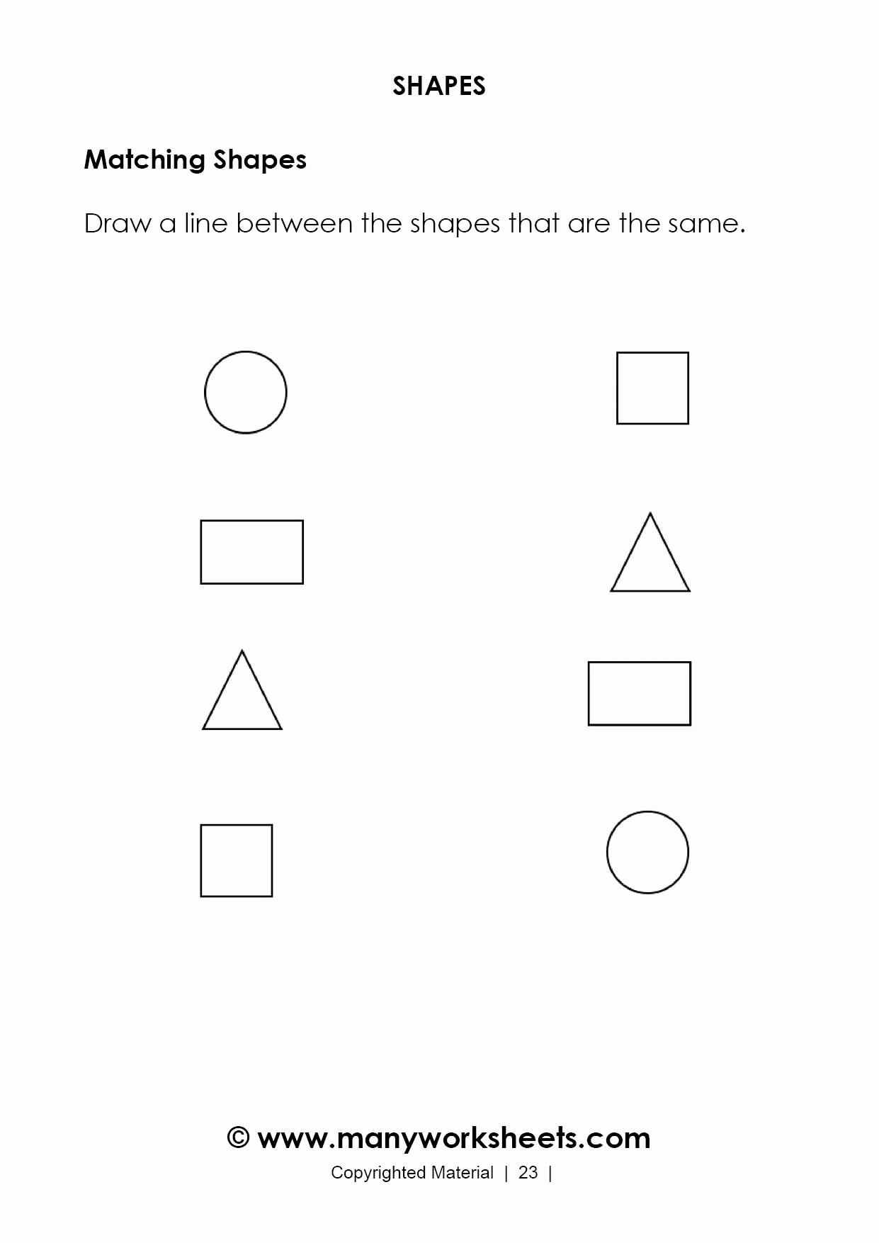 Shape Matching Worksheets for Preschoolers Inspirational Matching Shapes Worksheets for Kindergarten