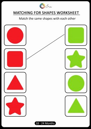 Shape Matching Worksheets for Preschoolers Lovely Download Free Matching Shapes Worksheets for 18 24 Months