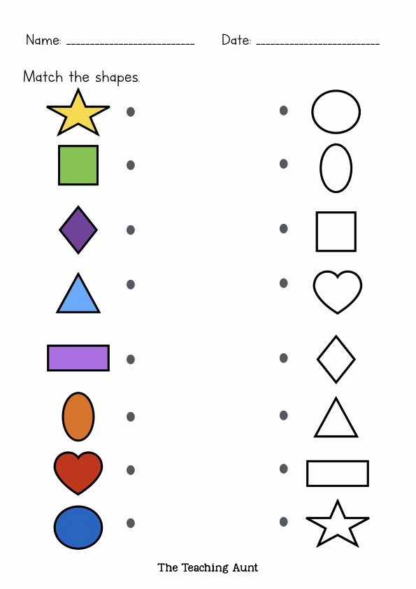 Shape Matching Worksheets for Preschoolers Lovely Matching Shapes Worksheets the Teaching Aunt Free Printable