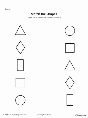 Shape Matching Worksheets for Preschoolers New Match Geometric Shapes Square Circle Triangle Rectangle