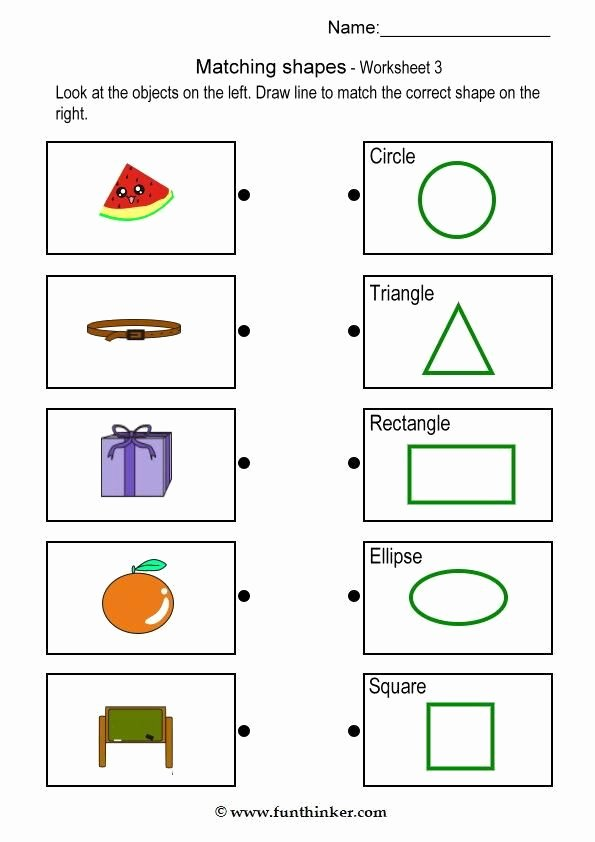 Shape Matching Worksheets for Preschoolers New Matching Object with Shape Brain Teaser Worksheets 3