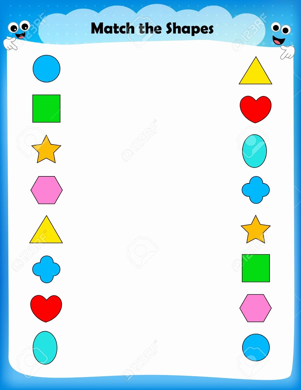 Shape Matching Worksheets for Preschoolers top Worksheet Match Similar Shapes Worksheet for Preschool Kids