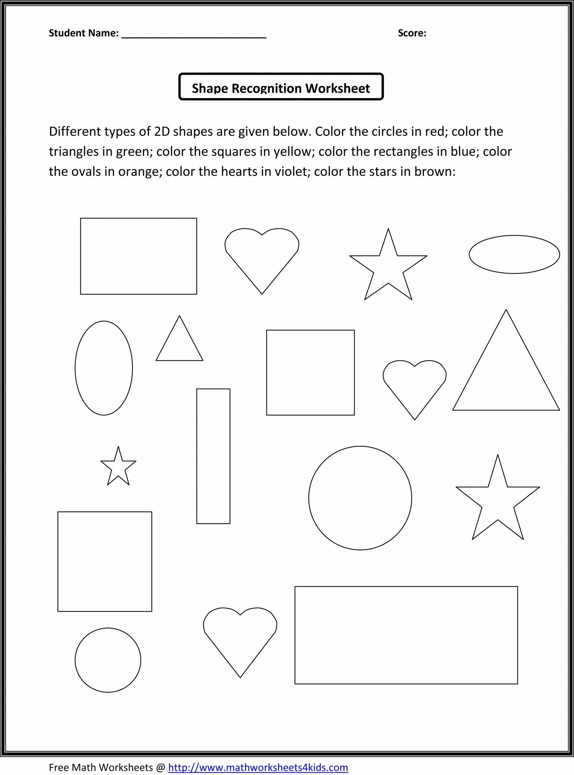Shape Recognition Worksheets for Preschoolers Awesome Kindergarten Math Worksheets