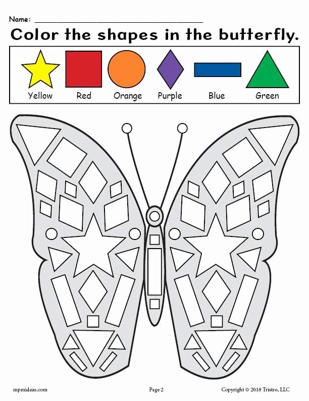 Shape Recognition Worksheets for Preschoolers Beautiful Printable butterfly Shapes Coloring Pages
