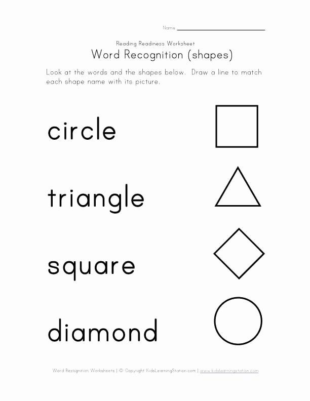 Shape Recognition Worksheets for Preschoolers Best Of Word Recognition Worksheets
