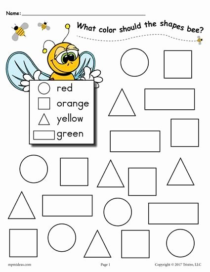 Shape Recognition Worksheets for Preschoolers Lovely 6 Bee themed Shapes Coloring Pages