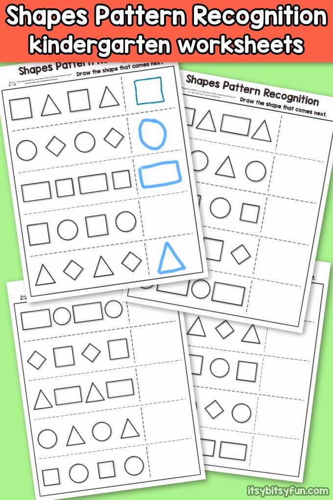 Shape Recognition Worksheets for Preschoolers Unique Shapes Pattern Recognition for Kindergarten Itsybitsyfun