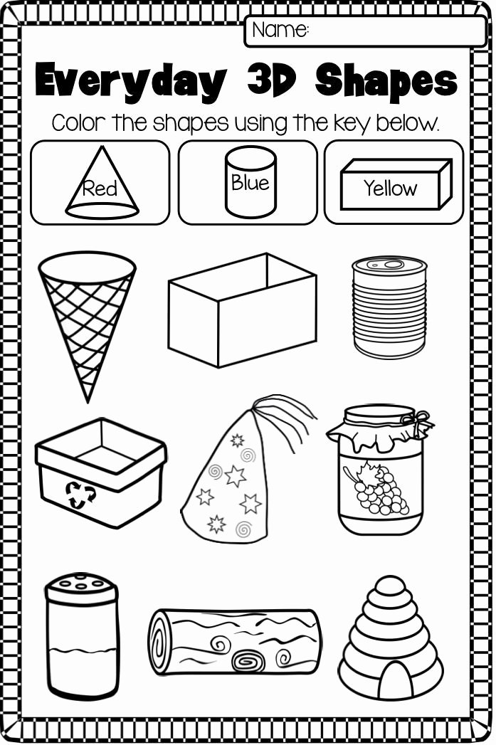 Shape Review Worksheets for Preschoolers Awesome 2d and 3d Shapes Worksheet Pack No Prep
