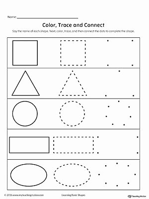 Shape Review Worksheets for Preschoolers Awesome Learning Basic Shapes Color Trace and Connect