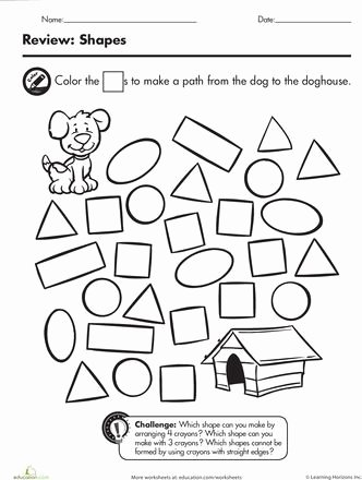 Shape Review Worksheets for Preschoolers Best Of Printable Shape Maze Worksheet for Kids