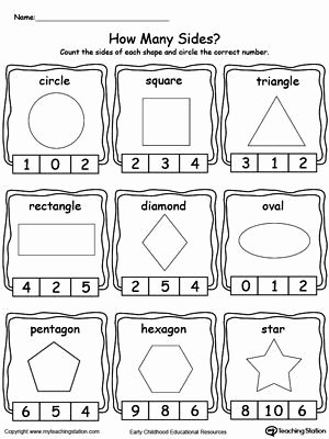 Shape Review Worksheets for Preschoolers New Identifying and Counting Shape Sides
