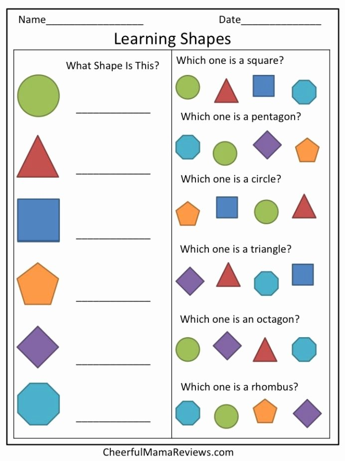 Shape Review Worksheets for Preschoolers Unique Preschool Worksheet Learning Shapes Cheerfulmamareviews