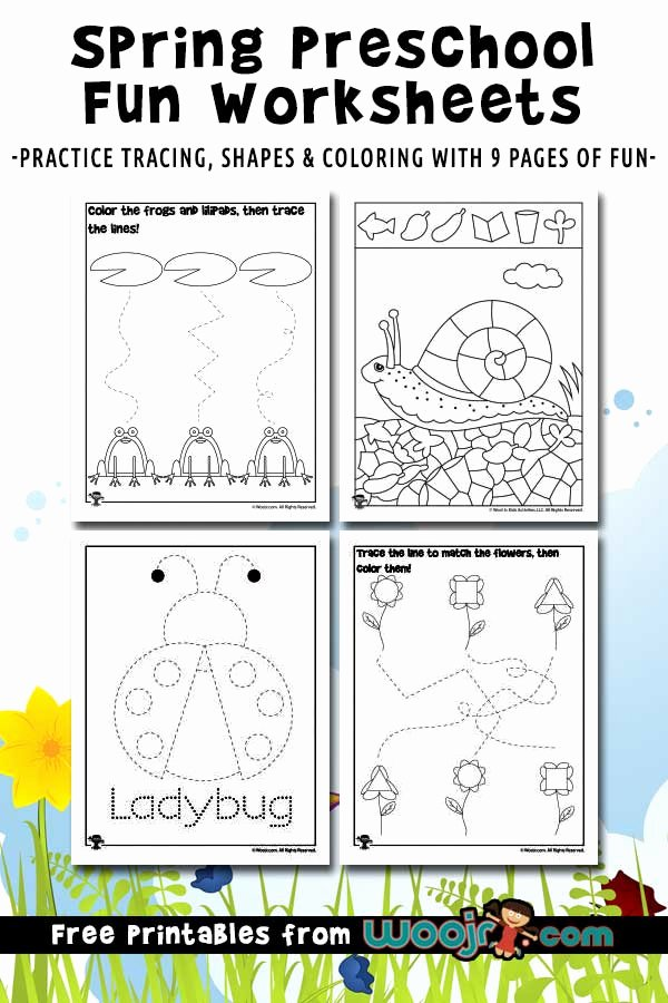 Shape Worksheets for Preschoolers Awesome Spring Preschool Worksheets for Shape Recognition & Tracing