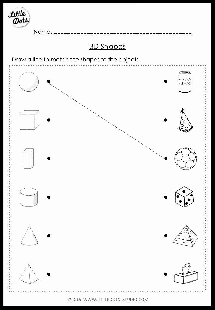 Shape Worksheets for Preschoolers Best Of Kindergarten Math 3d Shapes Worksheets and Activities