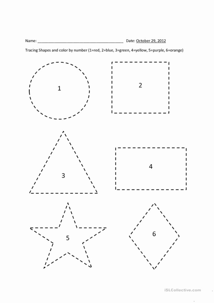 Shapes Tracing Worksheets for Preschoolers Beautiful Tracing Shapes Color by Number English Esl Worksheets for