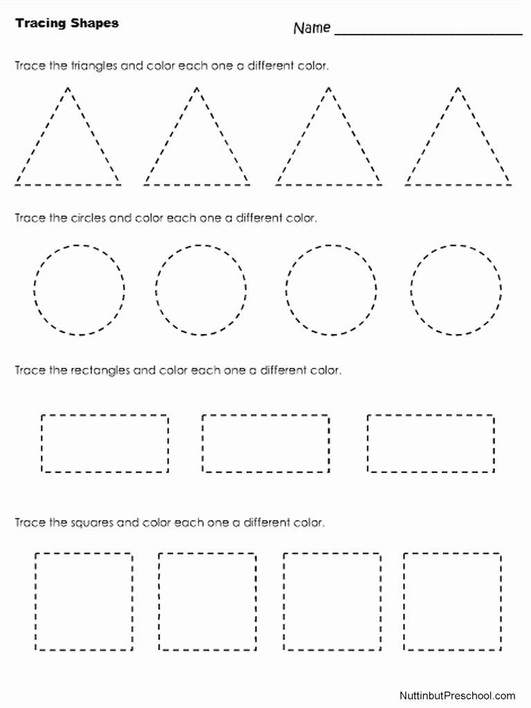 Shapes Tracing Worksheets for Preschoolers Inspirational Nuttin but Preschool
