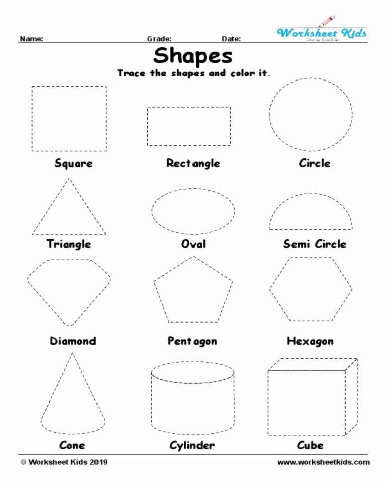 Shapes Tracing Worksheets for Preschoolers Lovely Tracing Shapes Worksheet In Geometry Worksheets Kids