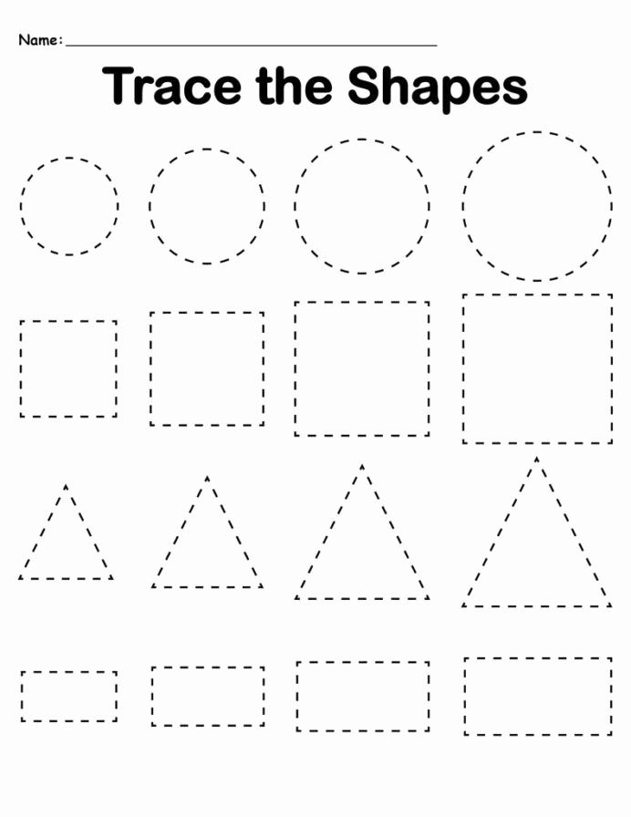 Shapes Worksheets for Preschoolers New Preschool Tracing Worksheets Best Coloring for Kids Shapes