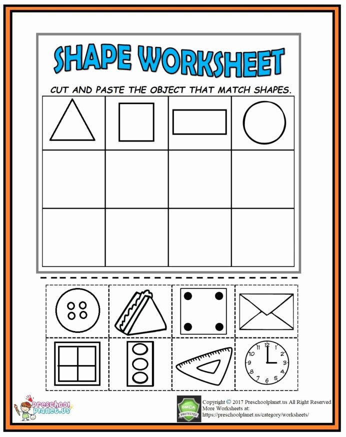 Shapes Worksheets for Preschoolers top Cut and Paste Shape Worksheet Preschoolplanet Cutting Shapes