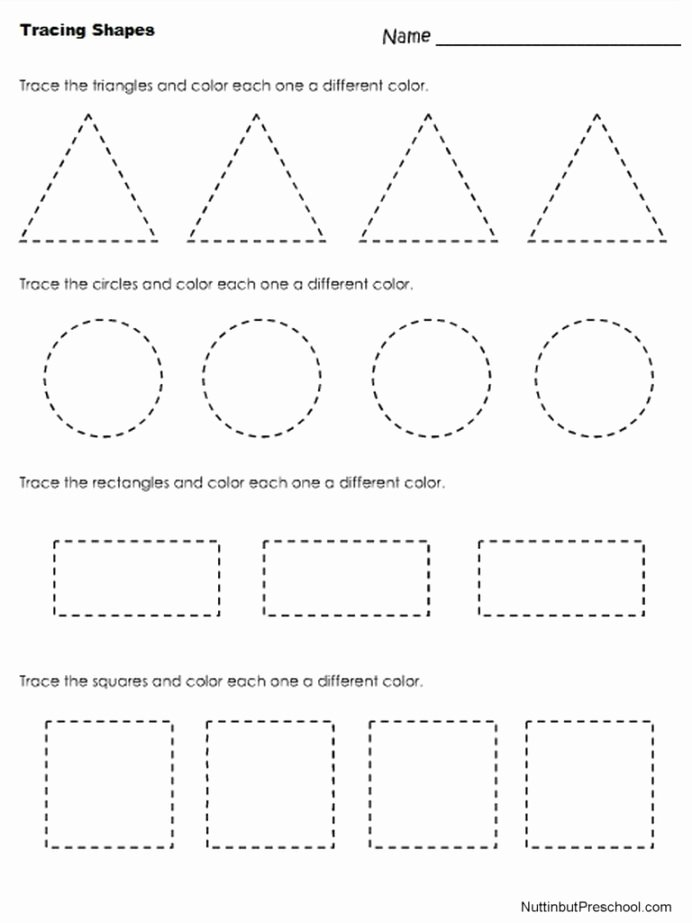 Shapes Worksheets for Preschoolers top Tracing Shapes Worksheet Nuttin but Preschool Worksheets