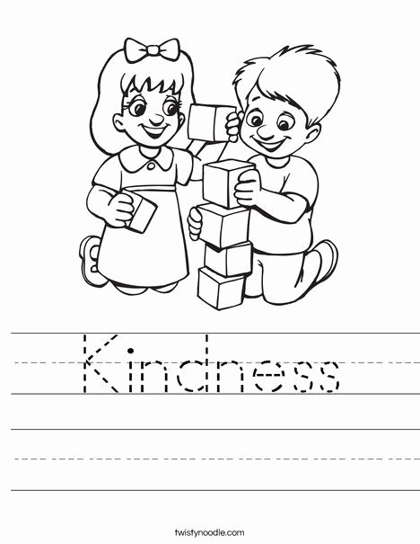 "Sharing Worksheets for Preschoolers New Kids Playing Blocks Worksheet Trace ""kindness"" Word"