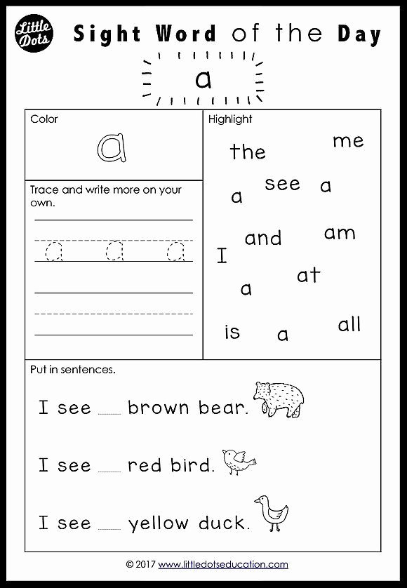 Sight Word Worksheets for Preschoolers Beautiful Free Pre K Dolch Sight Words Worksheets Set 1