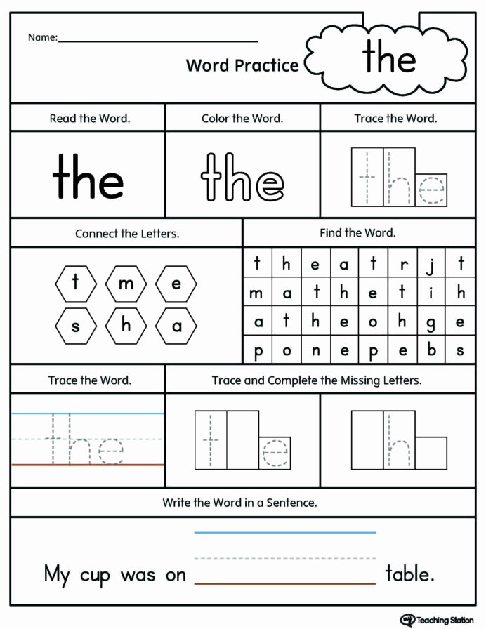 Sight Word Worksheets for Preschoolers Beautiful Kindergarten High Frequency Words Printable Worksheets