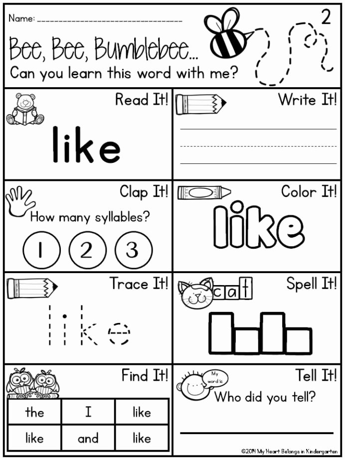 Sight Word Worksheets for Preschoolers Fresh Pin Kindergarten Sight Word Worksheets Dr Mikes Math