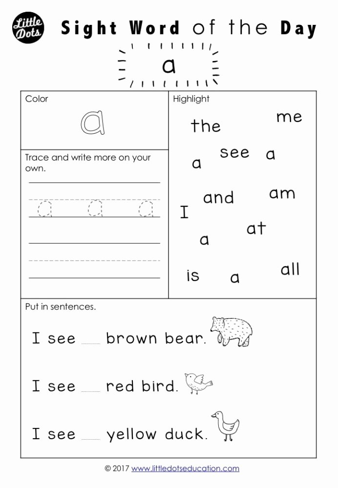 Sight Words Worksheets for Preschoolers Awesome Free Pre Dolch Sight Words Worksheets Set Word Kindergarten