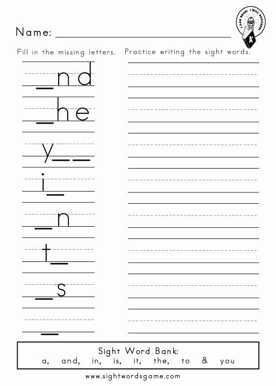 Sight Words Worksheets for Preschoolers Beautiful Dolch Sight Word Worksheets Words Reading Writing Preprimer