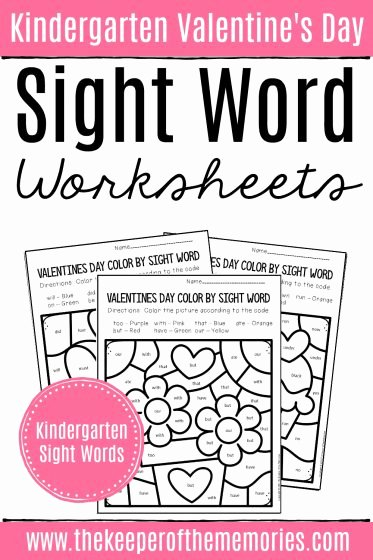 Sight Words Worksheets for Preschoolers Best Of Color by Sight Word Valentine S Day Kindergarten Worksheets