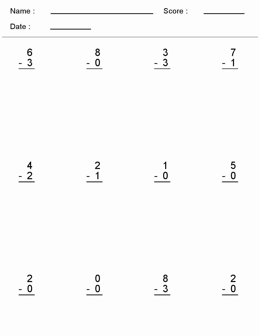 Simple Addition and Subtraction Worksheets for Preschoolers Best Of Kindergarten Worksheets Maths Subtraction E Digit Simple